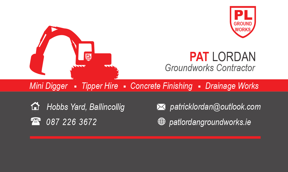 Pat Lordan Groundworks logo and contact information for digger hire